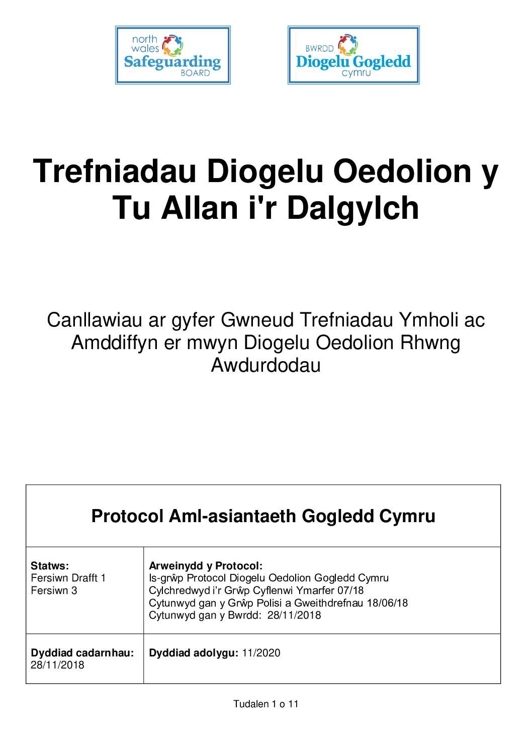 Trefniadau Diogelu Oedolion y Tu Allan i'r Dalgylch
