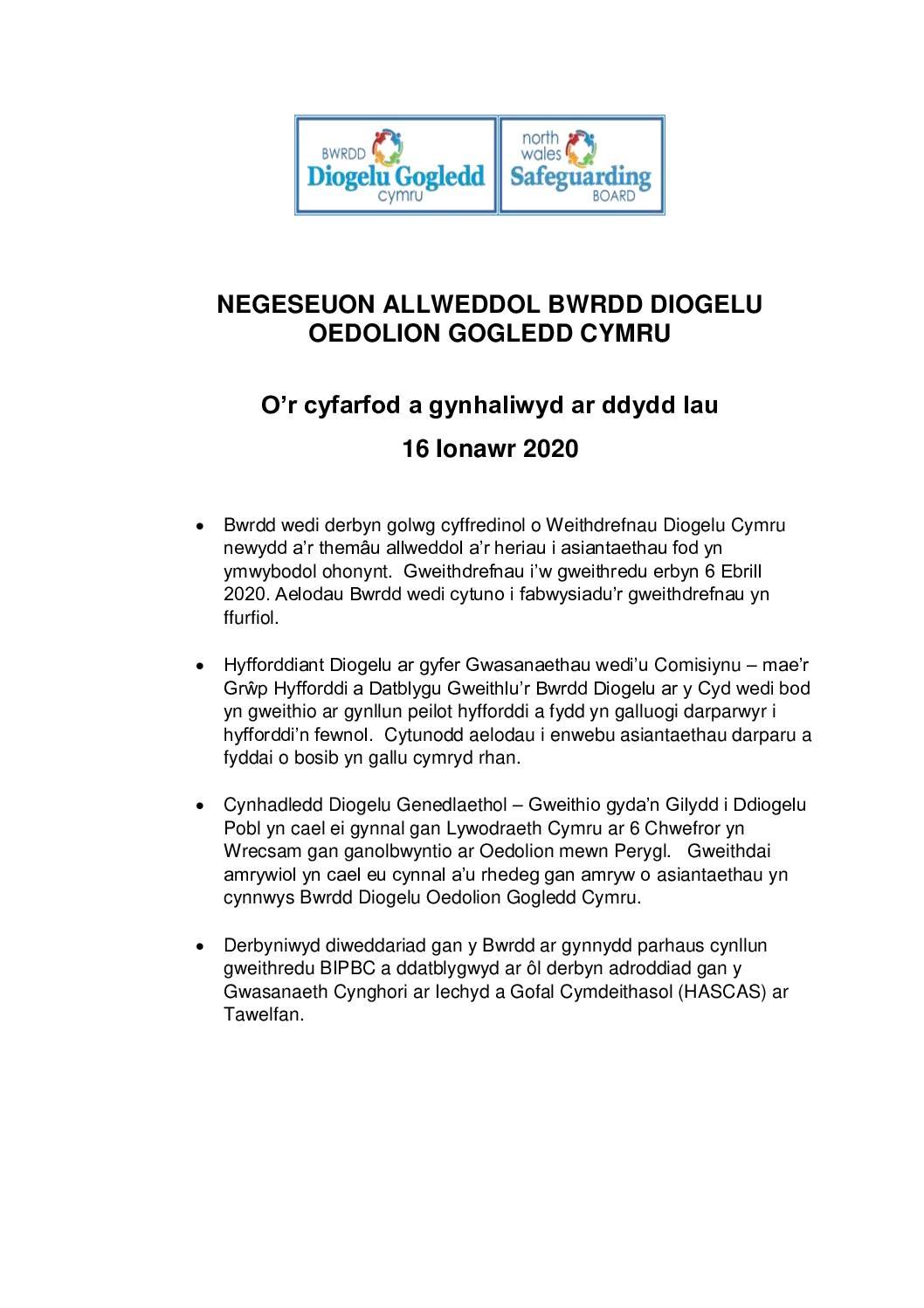 BGOGC Negeseuon Allweddol Ionawr 2020