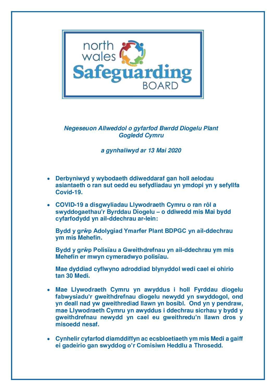 BDPGC Negeseuon Allweddol Mai 2020
